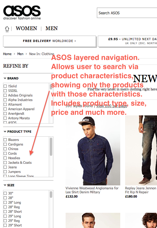 ASOS Layered Navigation